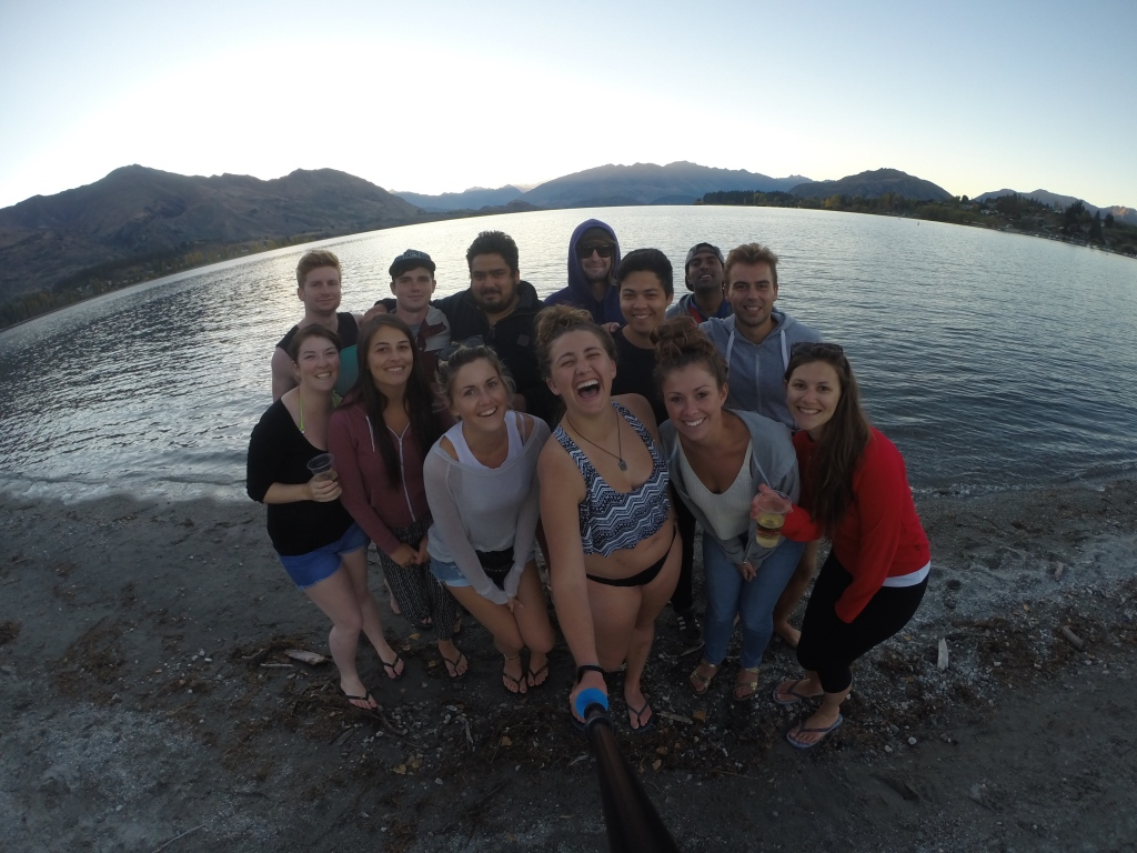 Most of the original crew from the first day in Auckland--here we're at Lake Wanaka enjoying the sunset and a nice fire by the lake! :)